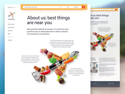 Foodietrip WIP #2 material flat sketchapp typography illustration web tour food travel website uidesign webdesign