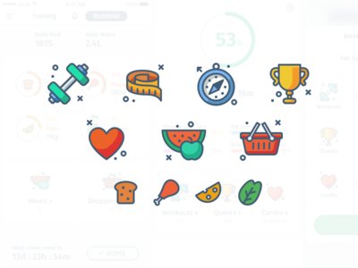 Icons for iOS health app affinity designer health app fitness app nutrition grocery food body health fitness icons flat