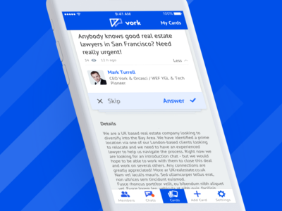 Vork - Cards cards ui networks ios community communication