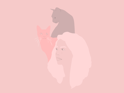 Pink Girl And Cats pink illustration portrait muted girl cats