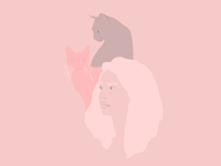 Pink Girl And Cats