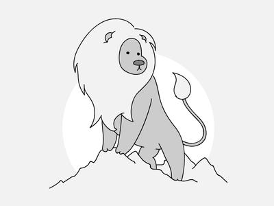 Leo gray mountains cute line cartoon lion