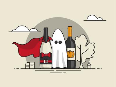Happy Hallo-WINE spooky tombstones cape pumpkin ghost line wine halloween