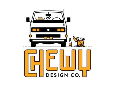 Chewy Design Co. design simple cowboy hat dice line tools vanagon chewy build van van life logo