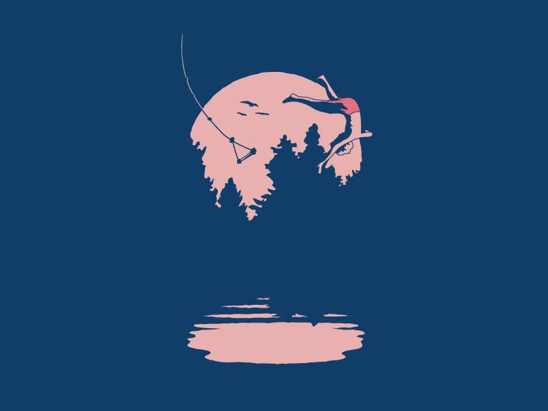 Rope Swing illustraion lake outside fun boy swing motion reflection ripples shadows sun trees birds swim splash water summer