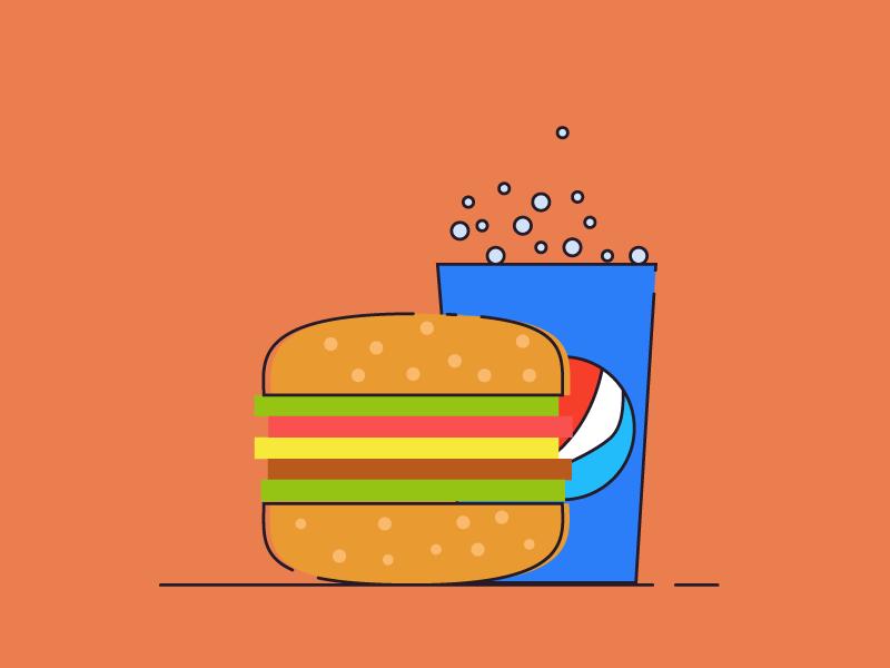 Burger & Pepsi minimal vector illustration flat design