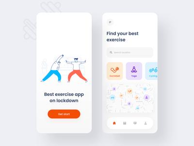 Exercise App 🏋🏻 gym app cycling health gym workout fitness app exercise ux product design mobile illustration mobile app color 2020 trend application app design app user interface ui minimal