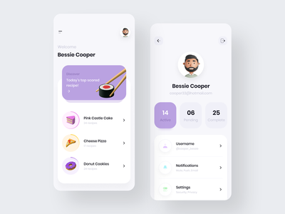 Food Recipe App 🍕 profile app profile homepage typogaphy mobile app design mobile ui 2021 trend recipe app food app 3d figma android ios ux illustration mobile app app app design application minimal