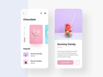 Chocolate App UI uiux concept user interface product application 2019 trend ios interface graphic chocolat adobe xd color minimal clean mobile ux ui design app app design