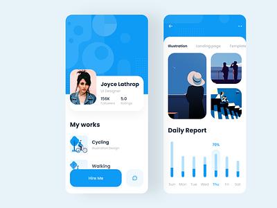 Profile App Design typogaphy clean pattern mobile app report interface color android app blue profile application ios uiux ui illustration minimal app app design adobe xd 2019 trend