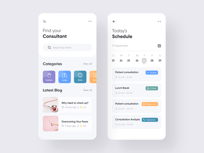 Find Consultant App product design design clean application task schedule doctor mobile app mobile consultant ux user interface color ios ui minimal app design app 2019 trend adobe xd