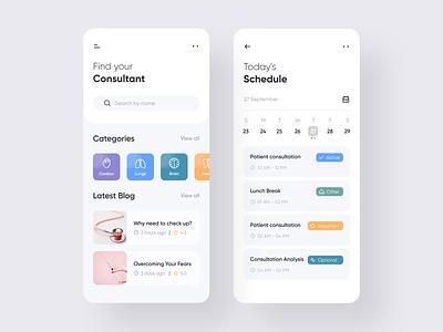 Find Consultant App product design design clean application task schedule doctor mobile app mobile consultant ux user interface color ios ui minimal app design app 2019 trend adobe xd