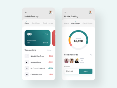 Mobile Banking App finance transaction credit card ux banking app cards user interface money bank app mobile design interface ios ui minimal application app app design adobe xd 2019 trend