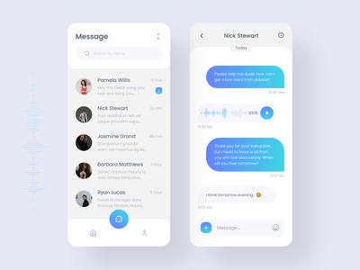 Messaging App search chat app ux colors mobile message app voice messaging app mobile app design mobile app ios design user interface ui minimal application app app design adobe xd 2019 trend