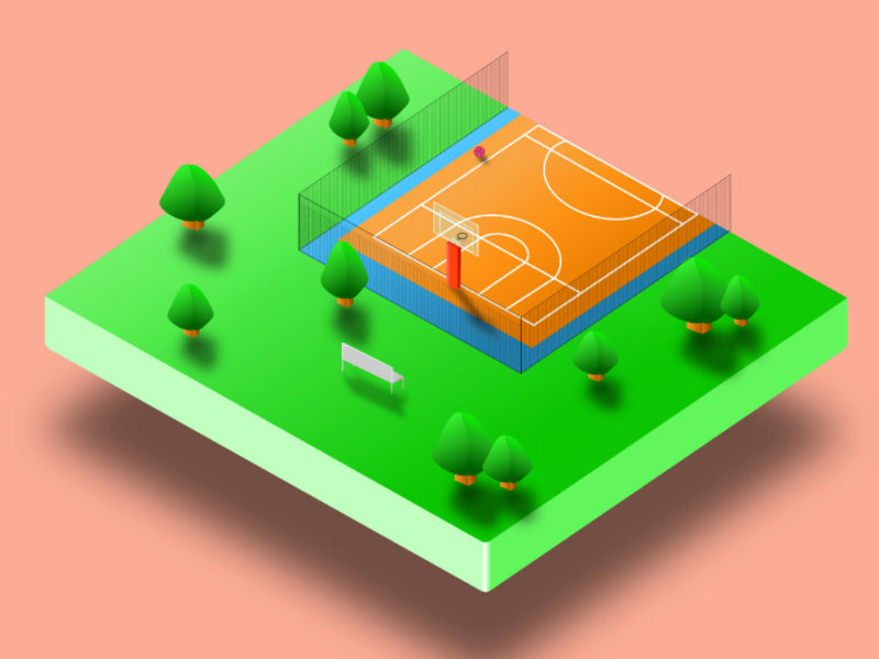 Hello dribbble! isometric miniature vector