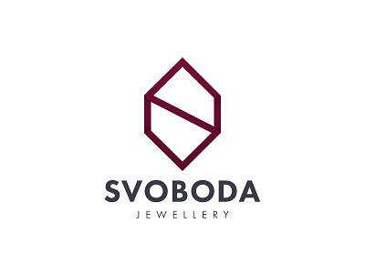 Svoboda Glass Jewellery logo design brand jewellery glass geometric symbol