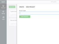 Create new project screen