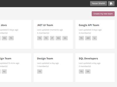 Team listing