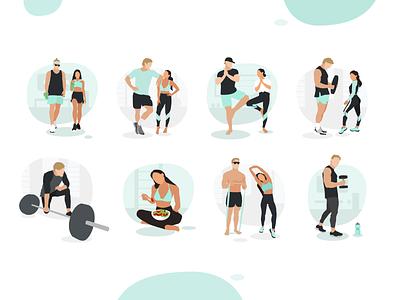 Illustrations for fitness blogger's website flat illustrator vector gsndesign louise fitness gym sport illustrations web design ui branding illustration