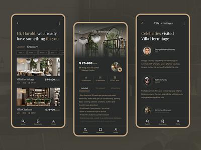 Luxury Real Estate app black dark gold gsndesign ux ui mobile design design luxury real estate realestate mobile app mobile ui