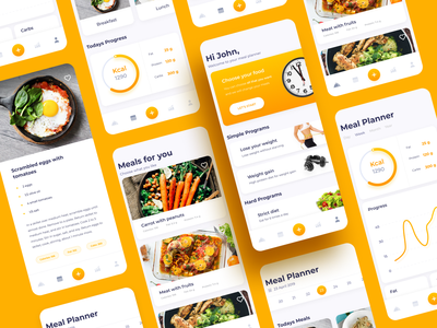 The personal nutritionist in your smartphone clean ui food and drink design studio colorful ux ui equal design mobile ui mobile app ux ui food app mobile design