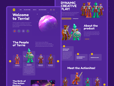 Home page of the promo website planets figures 3d homepagedesign homepage ui uidesign uiux website ecommerce userinterface userexperience toys kids educational animation 3drender equal ux ui design