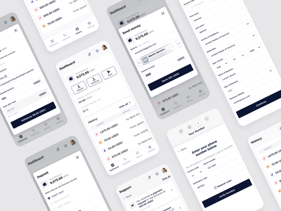 Mobile version of the Cryptocoin project navigation deposit crypto exchange cryptocurrency money transactions payments uxui crypto fintech app dashboad userexperience userinterface mobile design mobile equal ux ui design