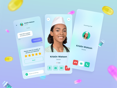 Video chat with a doctor in the TakePill mobile app mobile 3d medicine health app equal ux ui design clean ui userinterface userexperience 3d modeling mobile design mobile app modern pills pillreminder mobile ui application uidesign