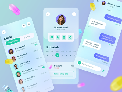 Communication with friends in the mobile app uidesign application mobile ui pillreminder pills modern mobile app mobile design 3d modeling userexperience userinterface clean ui design ui ux equal health app medicine 3d mobile