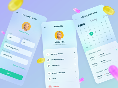 User Profile in the TakePill mobile app uidesign application pillreminder pills modern 3d modeling clean ui health app medicine 3d mobile ui mobile app userexperience userinterface mobile design mobile equal ux ui design