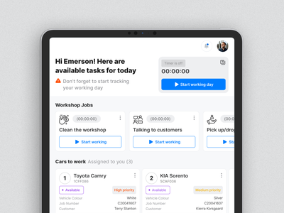 Task Manager in the Workshop Mechanic App project workshop manager cars tracker taskmanagement mechanic repair wireframes automobile responsive app tablet mobile userexperience userinterface equal ux ui design