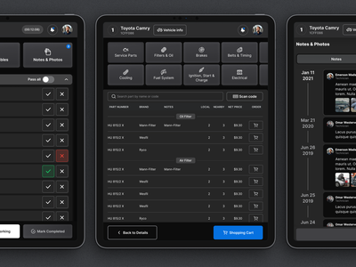 Dark Mode for WMA darkmode taskmanagement project tracker cars inspiration automobile responsive manager workshop repair mechanic tablet mobile userexperience userinterface equal ux ui design