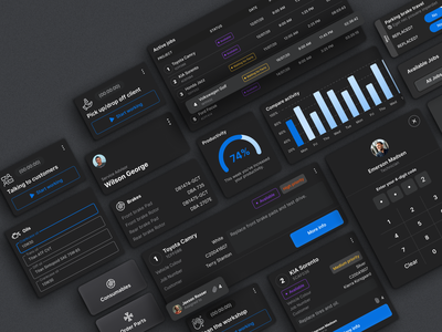 System Elements in WMA mechanic repair workshop manager darkmode tablet responsive automobile cars systemelements tracker project taskmanagement web userexperience userinterface equal ux ui design