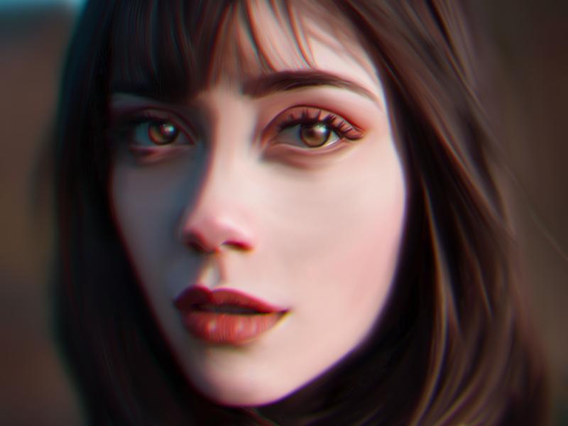 Girl in red dress ipad procreate photoshop digital painting illustration