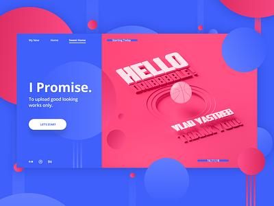 Hello, Dribbble! hero header hero banner web flat ui design typography 3d ui  ux pink hello hello world