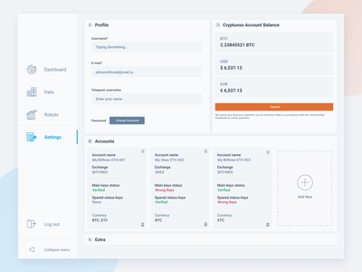 Light Theme Settings Page user experience interface design uiux dashboard ui dashboard crypto light crypto white white theme light theme settings