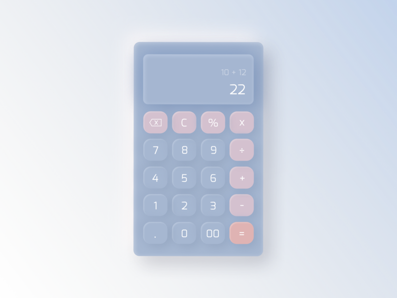 Calculator #004 ui gradient buttons daily ui 004 daily ui calculator ui challange blue kalkulator calculator neomorphism illustration design dailyui