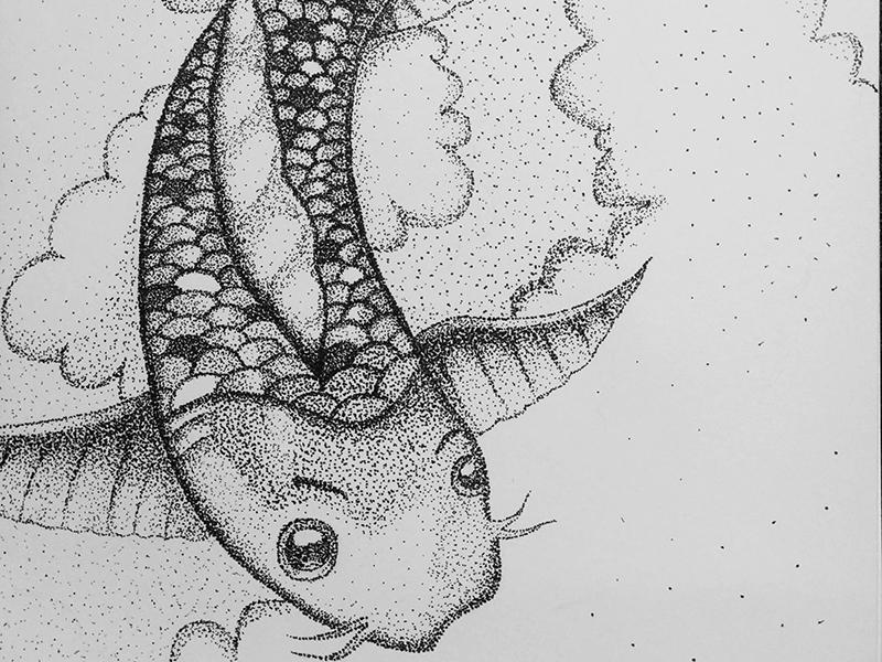 Fish sketch paper pen art fish drawing dots