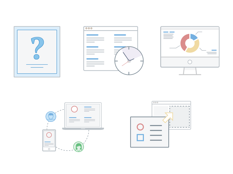 Icons For Landing page illustration icons flat ui design analytics widget question time collaborate customers