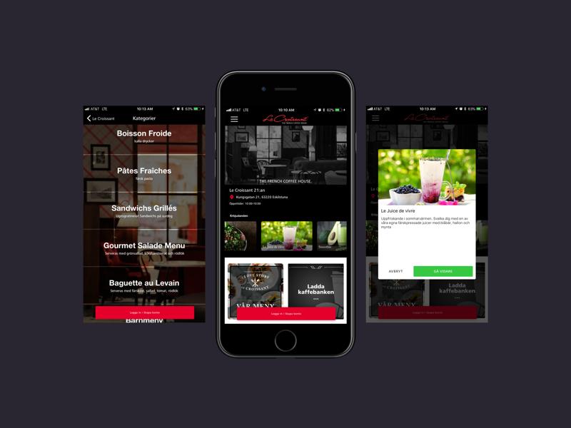LeCroissant App menu french delivery restaurant apple sketch app