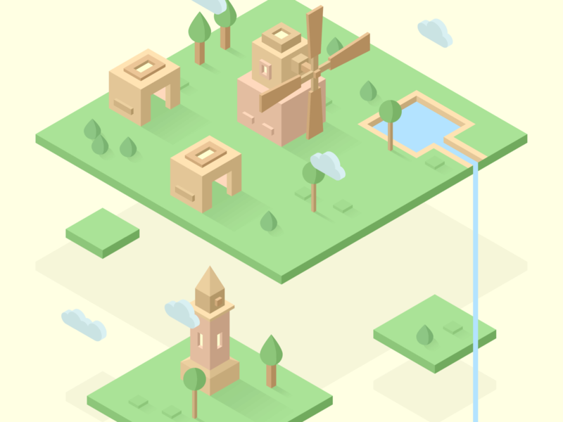 Floating village ☁️ windmill village tree town mill lighthouse isometric house floating cloud