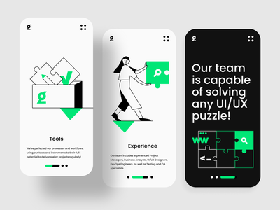 IT Website Concept mobile mobile app uidesign ui it company simple illustration minimal team mobile design onboard steps icons illustraion development company concept clean ui black ui black  white blackandwhite black