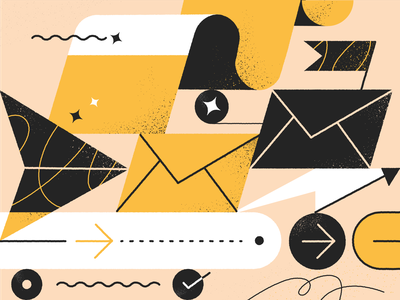 Illustration for Blog Post grainy subscribe illustration black and yellow brand illustration blog illustration blog vector flat ui illustration product illustration web illustration shapes envelope simple illustration minimal illustration line art abstract outlines line illustration