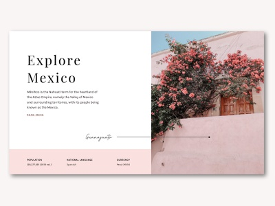Explore Mexico landing page blog ui pink pastel typography travel mexico