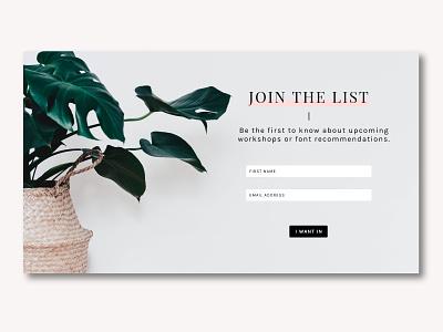 Sign Up Page minimalist minimal plants web design webdesign ui sign up signup dailyui 001
