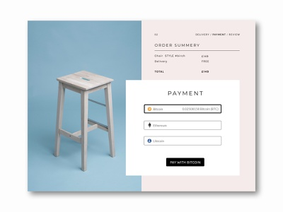 Checkout ui web design webdesign minimal scandinavian chair bitcoin cryptocurrency crypto dailyui checkout page checkout