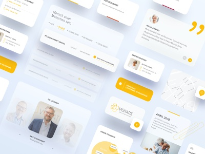 UI Elements for Visitatis illustration ux website design cards app perspective interface uikit elements yellow web userexperience sketch ui