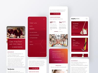Sozialwerk Aachen webdesign white red interface design website web sketch layout smartphone ui ux mobile branding