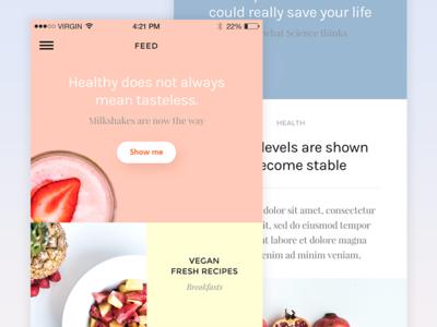 Recipes Magazine recipe type colors food grid minimal mobile ios recipes ux ui