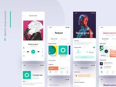 Spotify visual concept - Sneak peek redesign spotify redesign spotify music ui app minimal